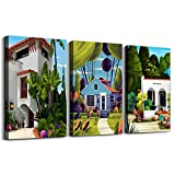 green cartoon Abstract Pictures farmhouse Canvas Wall Art for Living Room kitchen Wall Artworks Bedroom Decoration, 3 Piece framed Wall art decor bathroom Home posters Children room wall painting