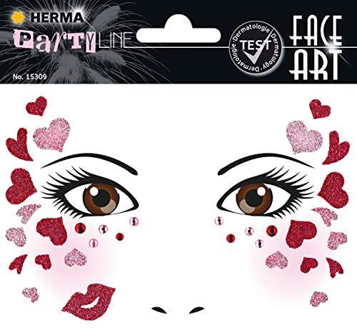 HERMA 15309 Face Art Sticker Love Gesicht Aufkleber Glitzer Sticker für Fasching, Karneval, Halloween, dermatologisch getestet