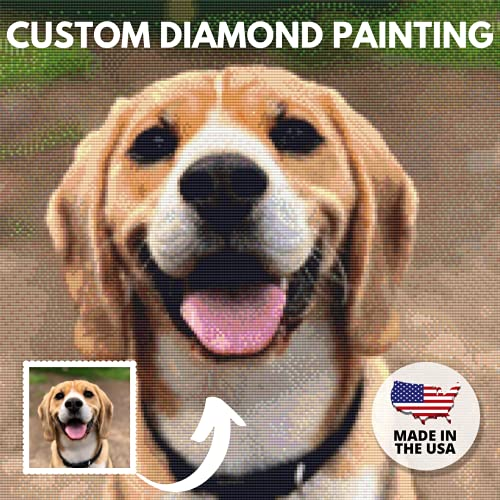 Custom Diamond Painting Kits for Adults 5D DIY - Made in USA - Personalized Diamond Art, Customized Diamond Dotz Kits, Rhinestone Painting , Paint with Diamonds, Round Drill(9.8 INCH / 25 cm)
