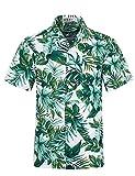 ELETOP Men's Hawaiian Shirt Quick Dry Tropical Aloha Shirts Floral Print Beach Party Casual Shirts EHS007-XXL