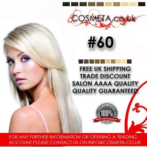 Extensions Cheveux pré-collées cosmeta 25 mèches x 50,8 cm 1 G Salon haute qualité AAAA Kératine U Tip Remy Hair (# 60)