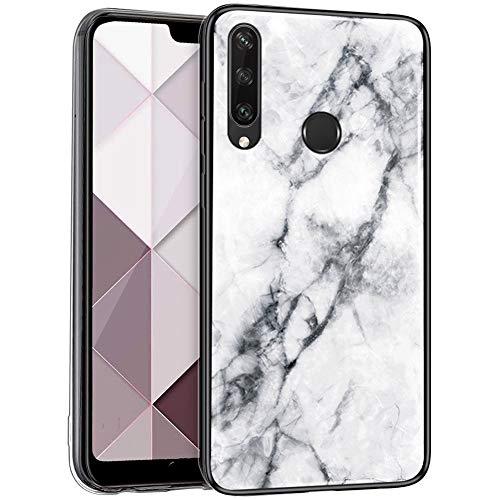 Surakey Handyhülle für Huawei Y6P Hülle,Marmor Muster Gehärtetes Glas Rückseite TPU Rahmen Silikon Hülle Stoßfest Bumper Handytasche Schutzhülle Case für Huawei Y6P,Weiß