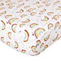 UOMNY Crib Sheet 100% Knitted Cotton Fitted Crib Sheet Baby Sheet for Standard Crib and Toddler mattresses Nursery Bedding Sheet Crib Mattress Sheets for Boys and Girls 1 Pack Rainbow Pattern