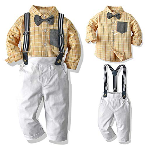 SANMIO Baby Jungen Bekleidungssets, Hemd + Hose + Fliege Krawatte Kinder Anzug Gentleman Festliche Hochzeit Langarm Body für Frühling Herbst (Gelb-1, Etikette 120/Körpergröße 110-120 cm)