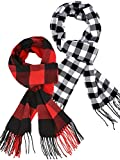 2 Piezas Bufandas Cálida de Mujer a Cuadros Bufanda de Invierno a Cuadros Acogedora Chal de Abrigo(Rojo Negro, Negro Blanco)