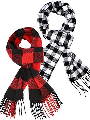 2 Stücke Plaid Check Warme Damen Decke Schal Gemütlicher Plaid Winter Schal Wickelschal (Rot Schwarz, Schwarz Weiß)