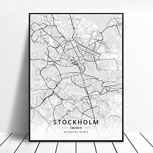 Lund Halmstad Stockholm Tumba Östersund Örebro Jonkoplng Sweden Canvas Art Map Poster ?ZQ-1702? Ingen ram poster 40x50cm