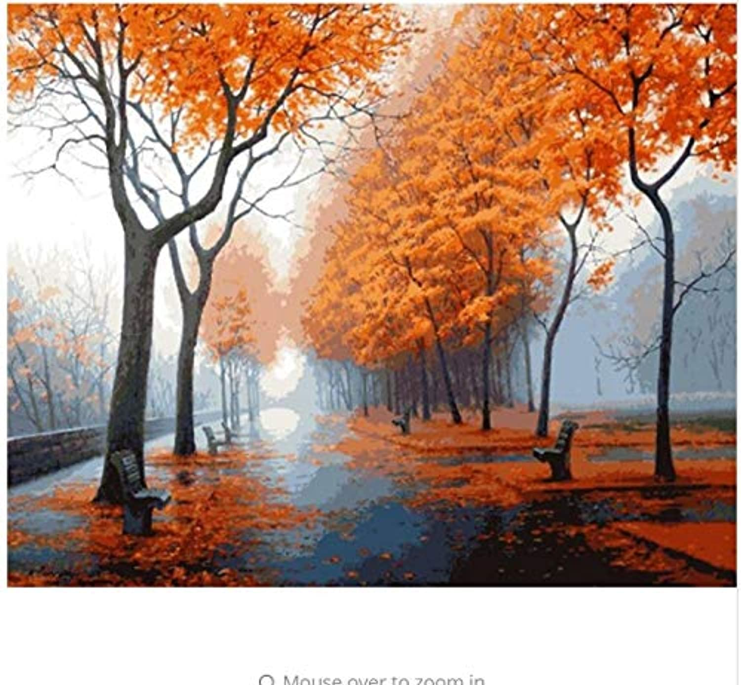 LIWEIXKY Forest Landscape DIY Painting By Numbers Picture Wall Art Canvas Painting Unique Gift For Living Room Artwork  Framed  50x60cm