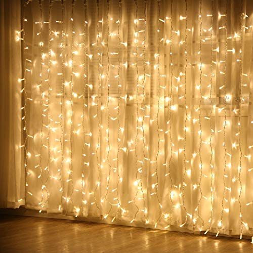 JMEXSUSS Remote Control Curtain Lights, 300 LED Window Curtain String Light for Wedding Party Backdrop Home Garden Bedroom Outdoor Indoor Wall Hang,Halloween Lights (Warm White)