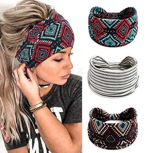 Yean – Diadema elástica para yoga con diseño de cabeza y cinta elástica para el pelo, para mujeres y niñas (paquete de 3)