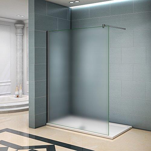 Walk in Duschwand 86x190cm Duschtrennwand 6mm Easy-clean Nano Milchglas Satiniertes Glas mit Stabilisierungsstange
