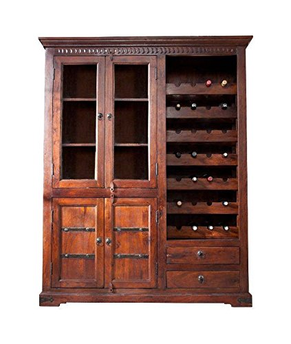 MASSIVMOEBEL24.DE Kolonialstil Weinschrank Akazie massiv Möbel Oxford #519