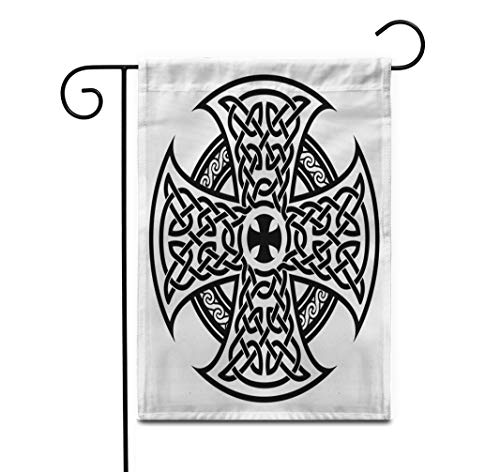 Awowee 28'x40' Garden Flag Viking Celtic National in The Shape of Cross Black Outdoor Home Decor Double Sided Yard Flags Banner for Patio Lawn