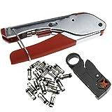 Create Idea Herramienta de compresión engarzadora compatible con RG6 RG59 conector tipo F