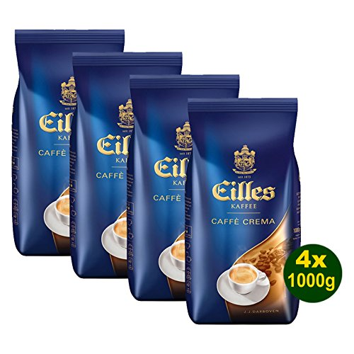 EILLES Kaffee CAFFÈ CREME Ganze Bohne 4x 1000g (4000g) - Spitzenqualität mit feinster CREMA