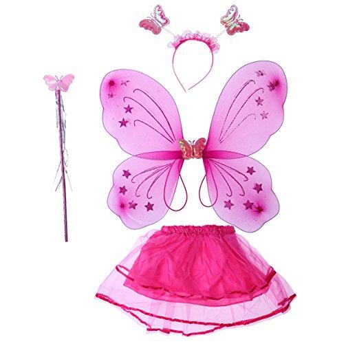 LUOEM Costume Farfalla Bambina Ali da Farfalla Bacchetta Magica Cerchietto e Gonna Tutu Rosa Rossa 4 Pezzi