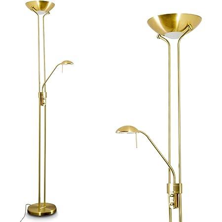 Luminaire sur pied LED Rom couleur laiton pourvu de deux variateurs d'intensité indépendants pour la vasque et pour la lampe de lecture - Lumière de teinte blanc chaud idéal comme lampadaire de salon
