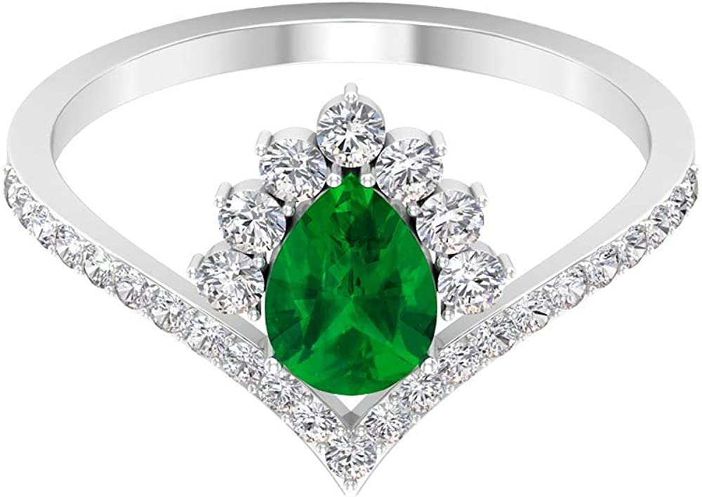 3/4 Ct Pear Emerald Diffused Solitaire Ring, Crown Engagement Ring, 1/2 Ct HI-SI Diamond Halo Bridal Ring, Curved Statement Ring, Vintage Wedding Ring, 14K Gold