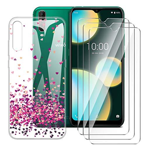 LJSM Hülle für Wiko View 4 Lite + [3 Stück] Panzerglas Bildschirmschutzfolie - Transparent Weich Silikon Schutzhülle Flexibel TPU Tasche Hülle für Wiko View 4 Lite (6.52