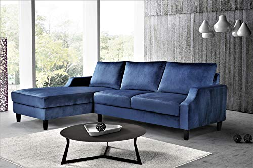 US Pride Furniture S0156-L Iduna Laucas Modern Large Velvet Sectional, L-Shape Sofa with Wide Chaise Lounge, Dark Blue