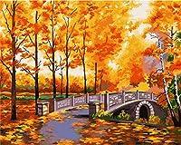 大人のための数字でペイント子供初心者秋の美しさDiy油絵キャンバス絵画16X20インチフレームなし