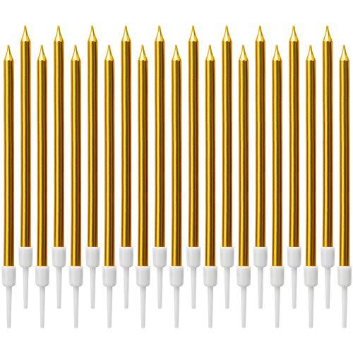LUTER Lange Metallisch Geburtstagskerzen Kuchen Geburtstagskuchen Kerzen Kuchenkerzen mit Haltern für Kinder und Erwachsene Geburtstag, Hochzeit Party Dekoration(24 Stück) (Dunkles Gold)