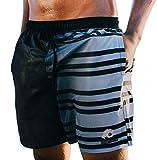 GUGGEN Mountain Badehose für Herren Schnelltrocknende Badeshorts Beachshorts Boardshorts Schwimmhose Männer Schwarz Weiss XXL