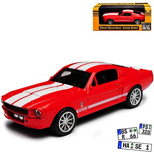 Shelby Ford Mustang GT500 I 2. Generation Coupe Rot mit Weiss Streifen 1967-1968 1/43 Collectibles Modell Auto mit individiuellem Wunschkennzeichen