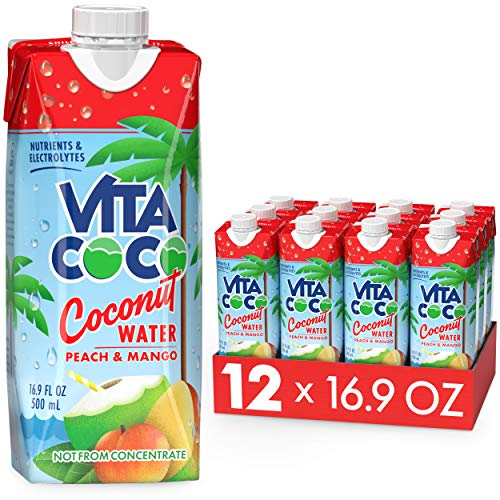 Vita Coco Coconut Water, Peach & Mango - Naturally Hydrating Electrolyte Drink - Smart Alternative to Coffee, Soda, and Sports Drinks - Gluten Free - 16.9 Ounce (Pack of 12)