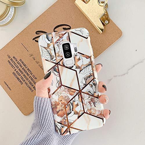 Ysimee Hülle Kompatibel mit Samsung Galaxy S9 Plus - Hülle Glänzend Bronzieren Silikon Cover Bumper [Ultra Dünn] Stoßfest TPU Schutzhülle Anti-Scratch Handyhülle Weich BackCover, Marmor - Gelbe Blume