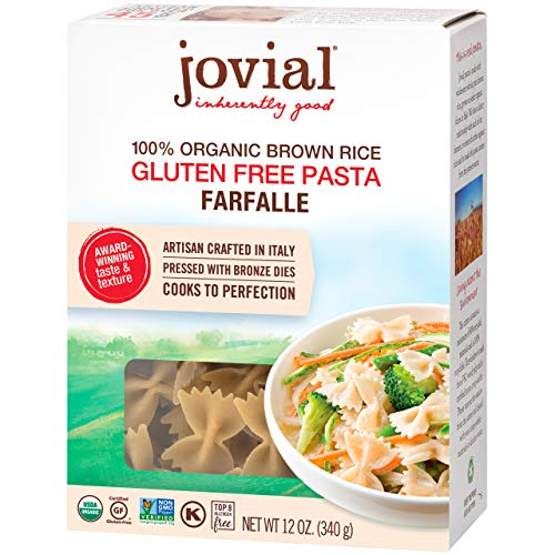 Jovial Farfalle Gluten-Free Pasta | Whole Grain Brown Rice Farfalle Pasta | Non-GMO | Lower Carb | Kosher | USDA Certified Organic | Made in Italy | 12 oz