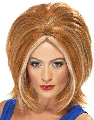 Vrouw 1990s Fancy Jurk Party Meisje Power Pruik Ginger Met Blonde Streaks