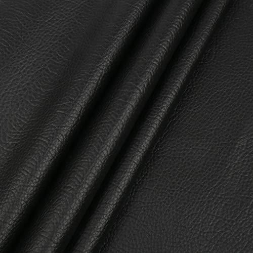LOKIPA 合皮 生地 ソフトレザー DIY かばんの作りに 手芸材料 pvc leather ライチ紋 幅135�p (黒色, 2m)