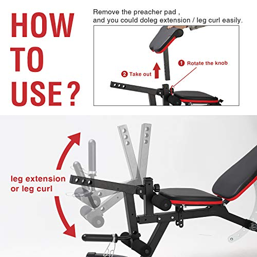 ER KANG Adjustable Weight Bench- 8+4 Positions Workout Bench with Preacher Pad, Leg Extension, Multi-Functional Incline/Deline/Flat Bench for Home Gym, Strength Training(Upgraded)