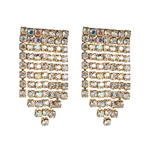 Pendientes Allshiny Pendientes de borla de diamantes de imitación europeos y estadounidenses Diamantes de moda Pendientes de viento Iins exquisitos pequeños pendientes de diamantes completos súper fla