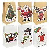 UMIPUBO 6-24pcs Sacs Cadeaux de Noël en Papier Kraft Modèle de Dessin animé de Noël Sac d'emballage Bonbons, Boîte d'emballage Alimentaire de Chocolat