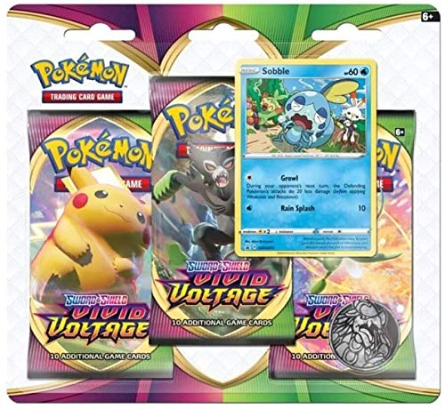 Pokemon TCG:Sword & Shield-Vivid VoltageThree-Booster Blister, Multi (175-80753)