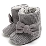 LIVEBOX Newborn Baby Cotton Knit Booties,Premium Soft Sole Bow Anti-Slip Warm Winter Infant Prewalker Toddler Snow Boots Crib Shoes for Girls Boys