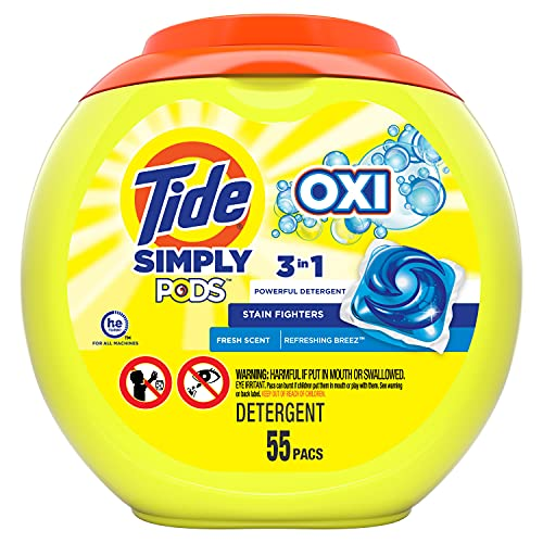 Tide Simply Pods +oxi Liquid Laundry Detergent Pacs Capsules, Refreshing Breeze, 55 Count, 33 ounces