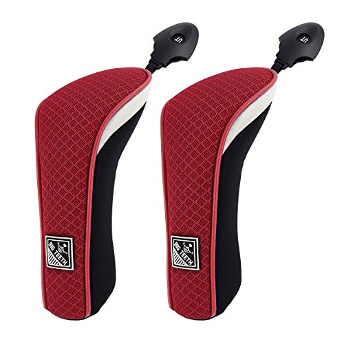 Big Teeth Golf Hybrid Head Covers Set Headcovers Utility Club Protector Meshy with Interchangeable Number Tag (2 Pcs) (Red)
