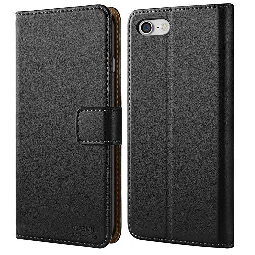 HOOMIL Funda para iPhone 7, Funda para iPhone 8, Funda de Cuero PU Premium Carcasa para Apple iPhone 7/8 Smartphone (Negro)