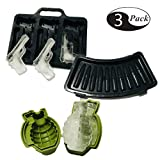 (3 Pack) Ice Cube Mold Set, 3D Silicone & Plastic Weapon Series for Ice Ball, Cake & Chocolate Maker, Contains a Silicone Grenade Mould, a Silicone Pistol Gun Mould and a Plastic Bullet Mould (Type 1)