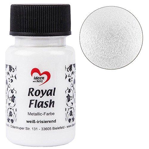 Royal Flash, Acryl-Farbe, metallic, mit feinsten Glitzerpartikeln, 50 ml (weiß-irisierend)