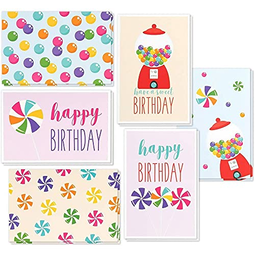 Birthday Card - 48-Pack Birthday Cards Box Set, Happy Birthday Cards - Colorful Gumball Designs Birthday Card Bulk, Envelopes Included, 4 x 6 Inches