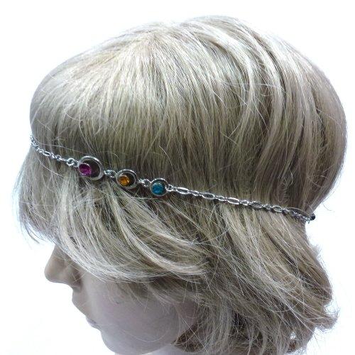 rougecaramel - Headband/bandeau/bijou de tête en métal argenté et strass multicolore