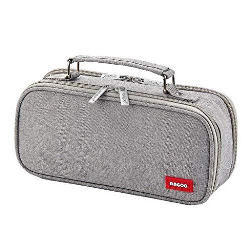 #N/a Bolsa para lápices de lona de doble capa de gran capacidad, bolsa para lápices Portable, bolsa para lápices, suministros de oficina, bolsa de - Gris
