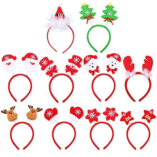 10pcs Lot de Serre-têtes Bandeau Noël pour Cheveux Bande Christmas Headband 10 Formes Mixtes Renne Père Noël Bonhomme de Neige Chapeau Décoration pour Adultes Enfants Party Costumes de Noël