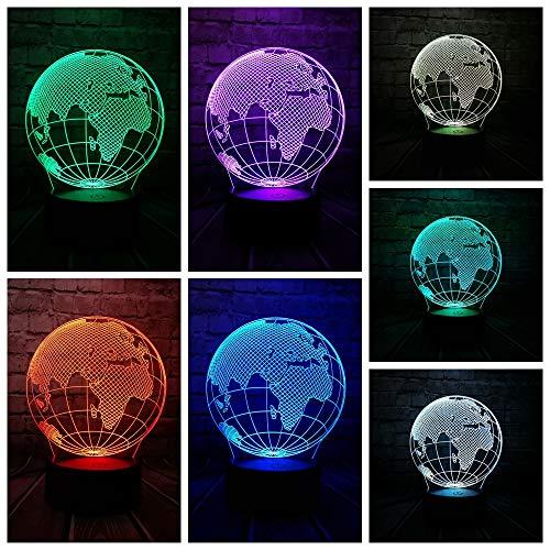 DFDLNL Globe Monde Europe Carte 3D LED Lampe 7 Couleurs Changement Ambiance Ampoule Enfant Bureau Décoration Gadget Cadeau Jouet