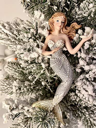 Kurt Adler Silver/Gold Under The Sea Mermaid Ornament 3A