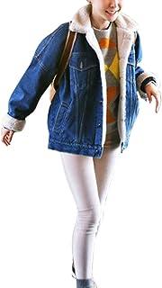 Qitun Chaquetas Vaqueras para Mujer Engrosamiento Suelto Tamaño Grande Chaqueta De Mezclilla Denim Jacket Outwear